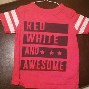 Red white and awesome tshirt 3t